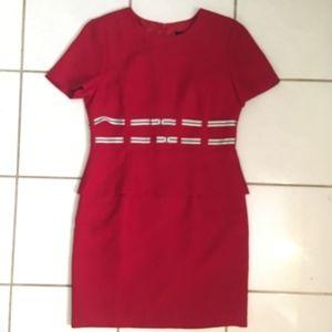 Positive Attitude Plus Size Red Peplum Dress
